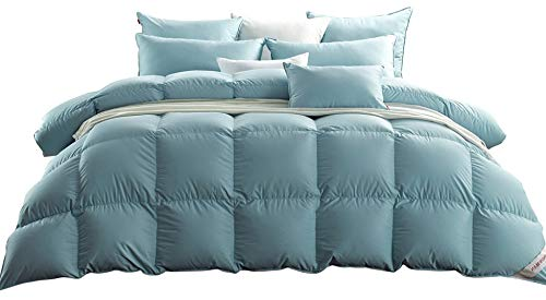 Hemau Premium New Soft Luxurious Cal King Size Light Weight Goose Down Comforter,100% Cotton Cover Down Proof,Blue | Style 503196237