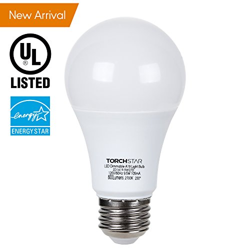 TORCHSTAR Dimmable A19 LED Light Bulb, 9.5W (60W Incandescent Equivalent), 2700K Soft White, 800lm, E26 Base, UL & Energy Star Listed, 3 Years Warranty