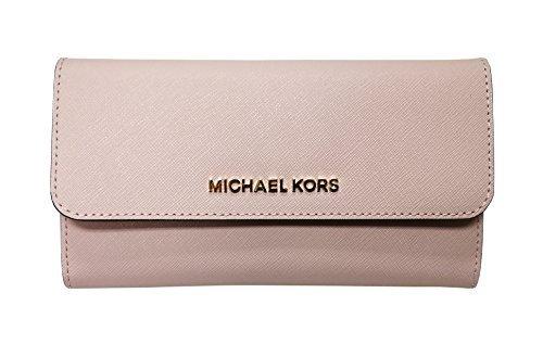 Michael Kors Jet Set Travel Large Trifold Leather Wallet Blossom Pink by Michael Kors (Image #1)