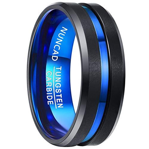 NUNCAD Mens 8mm Tungsten Carbide Ring Blue & Black Matte Finish Beveled Edge Wedding Band Size 4 to 17