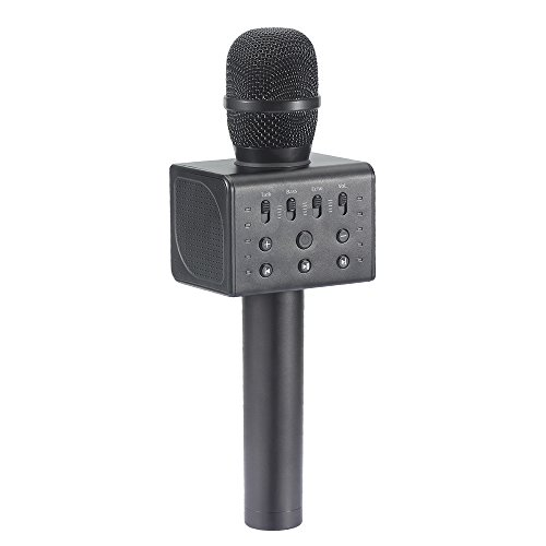 MICGEEK Q11,Handheld Wireless Karaoke Microphone,LED Lights,Built-in 5 Loud Speakers,Aluminium Alloy Karaoke Mic for Smartphone/Tablet/External Speaker Connection/Home KTV - Online Aus Shop