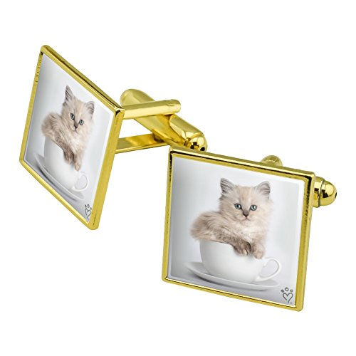 - Graphics and More Ragdoll Tiffany Cat Kitten Tea Cup Ride Square Cufflink Set Gold Color