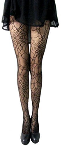 Cohaco Women's Fishnet Thigh High Stockings (Spider (Halloween Stocking)