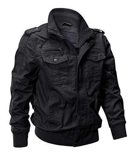EKLENTSON Windbreaker Men Black Army Jacket Black Coat Tactical Jacket Mens Coats Field Jackets Black ()