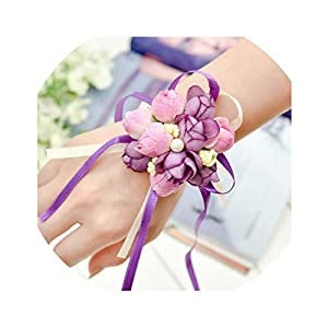 5 Colors Wrist Flowers Pearl Silk Rose Ribbon Artificial Flower Party Wedding Decoration Bride Bridesmaid corsages Hand Flower 82