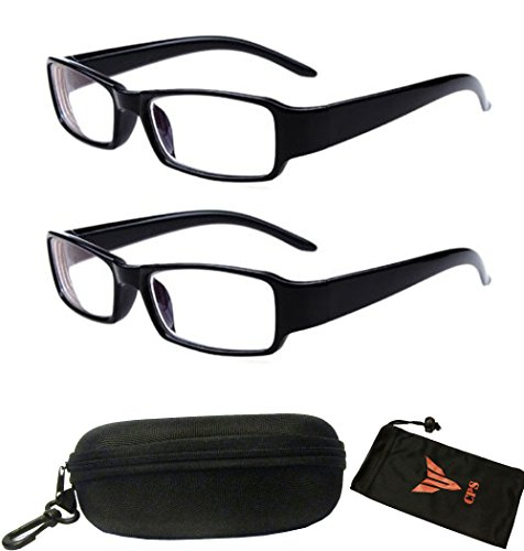 (#ZC001 Blk) 2 Pairs Nearsighted Shortsighted Myopia Glasses -All Strength Available New! (Strength: -1.00) These are not reading - These Sunglasses Are