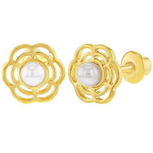 18k Gold Plated Flower White Simulated Pearl Screw Back Baby Earrings - Plated Gold Flower 18k