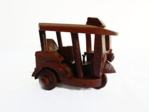 Thai 3 Wheels Tuk Tuk Bangkok Taxi Wood Model Handcrafted Souvenir Decor by Waisawasdee