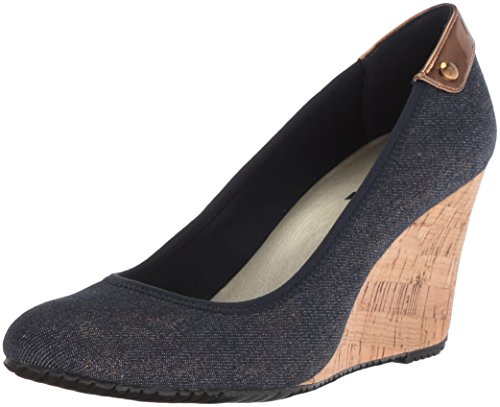 Anne Klein Womens Tru Wedge Pompe Marine / Or Multi Tissu