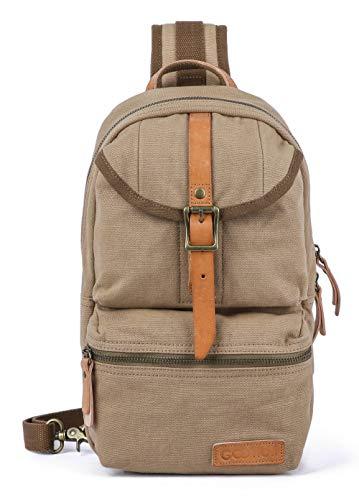 Gootium Khaki Sling Bag - Canvas Crossbody Daypack