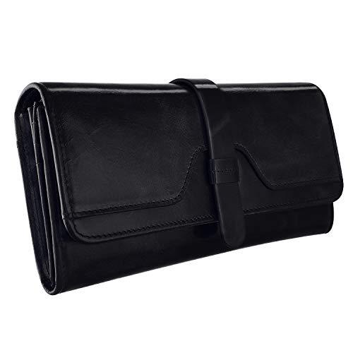 (Kattee Vintage Women's RFID Blocking Genuine Leather Trifold Wallets (Black))