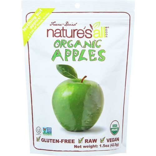 Natierra Fruit Organic Freeze Dried Apples, 1.5 Ounce - 12 per case.