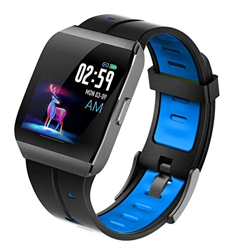 Pard 2019 Super Waterproof Smart Watch, Sport Wristband with ECG, Heart Rate and Sleep Health Monitor, Fitness Tracker for Women Men and Kids, Blue (Best Health Wristbands 2019)
