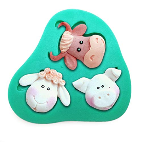 Cute Zoo Animals Head Cow Sheep Pig Lion Giraffe Monkey DIY 3D Silicone Mold Making Ice Blocks Candy Fondant Chocolates Soap Cakes Mousse Jelly Decor