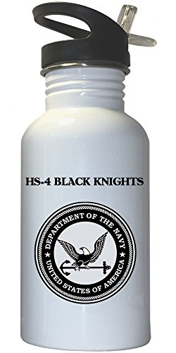 HS-4 Black Knights - US Navy White Stainless Steel Water Bottle Straw Top, 1030
