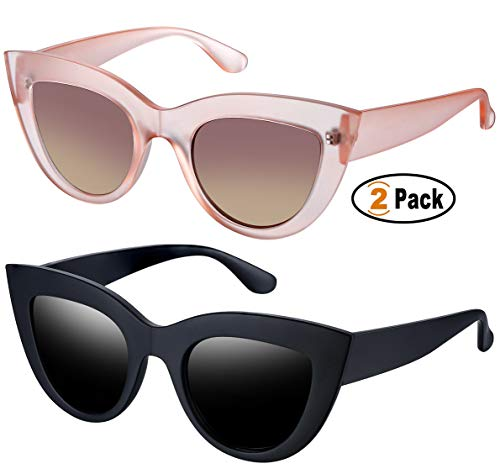 Retro Cat Eye Polarized Sunglasses Women Vintage CatEye Sun Glasses UV400 Shades (Matte Black+Pink Tea)