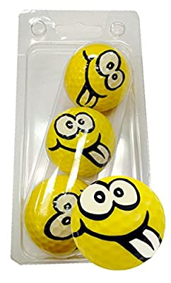 GBM Golf Goofy Smiley Face Novelty Golf Balls Full Wrap Design 3 Pack from GBM GOLF