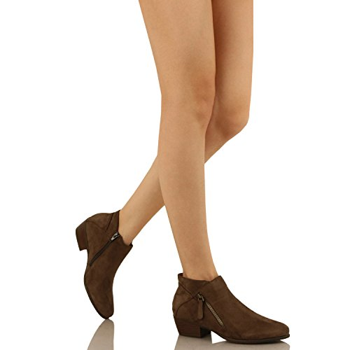 Guilty Schuhe Damen Cowboy geschlossene Zehe Faux Wildleder Bootie - Bequeme Seite Reißverschluss Low Heel Ankle Boot 04-Mocha-Wildleder