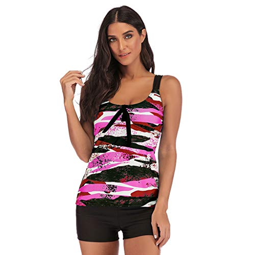 IEason 2pcs Womens Gradient Printed Tankini Swimdress with Boyshort Swimsuits Sport Swimsuit Beachwear Padded -