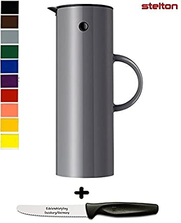 Stelton Isolierkanne Thermoskanne 0,5 l + Edelstahlstyling Universalmesser GRATIS (0,5 L, schwarz)