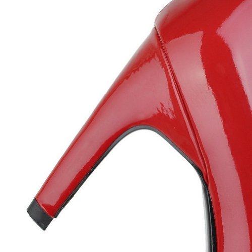 B 6 Solidi Amoonyfashion Rosso Ci Il Vetro Con Donne Brevetto Tallone 5 m Pu Pompe Chiusa Pelle Rotonda Punta Diamante zCxZwqTz