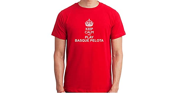 Keep Calm and Play Basque pelota vasca para hombre T-Shirt rojo ...