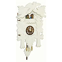 German Quartz White Carved Cuckoo Clock by Trenkle Uhren