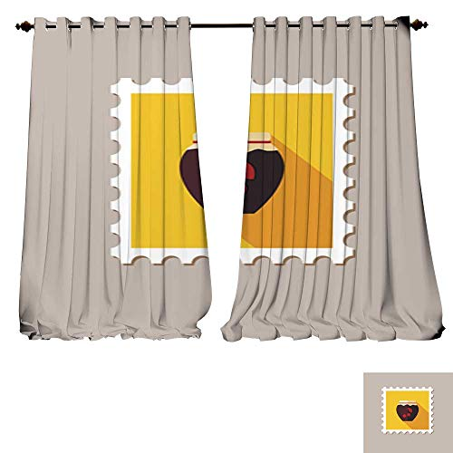 (DESPKON-HOME Customized Curtains Cherry jam jar Flat Stamp with Long shadow2 Tie Up Shades Rod Blackout Curtains -W108 x)