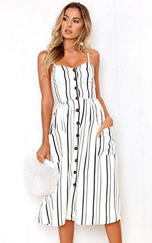 Angashion Women's Dresses-Summer Floral Bohemian Adjustable Spaghetti Strap Button Down Swing Midi Dress with Pockets 4