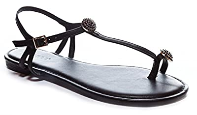 Bamboo Women's Jeweled Toe-Ring T-Strap Flat Sandal