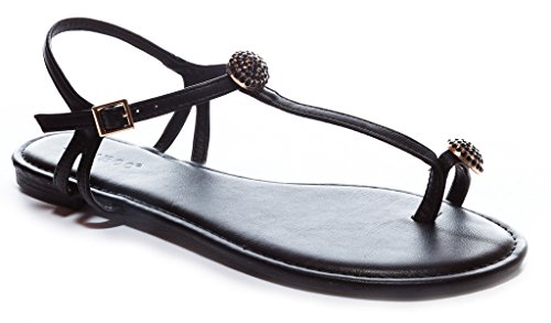 Bamboo Women's Jeweled Toe-Ring T-Strap Flat Sandal in Black Size: 8