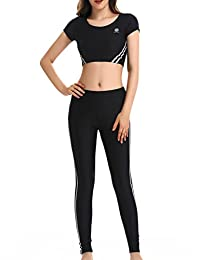 NORA TWIPS Women Short Sleeve Sportwear Casual 2 Piece Yoga Tracksuit by (S-2XL)