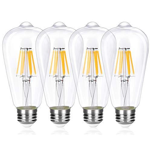 Wedna LED E26 Filament Edison Bulb, 6W (Equivalent 60W) ST64 LED Energy Saving Light Bulbs, Warm White 2700K, Dimmable, Clear Glass, 4-Pack