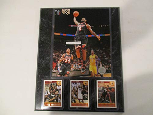 LeBRON JAMES MIAMI HEAT ACTION PHOTO PLUS 3 HEAT CARDS FEATURING DWAYNE WADE & CHRIS BOSH MOUNTED ON A