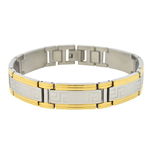 Shopjw Men's Stainless Steel Yellow and White Greek Key Style Link Bracelet, 8.75