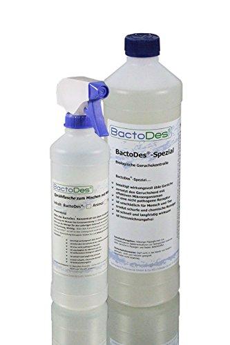 BactoDes Spezial 1L. Geruchsvernichter - Allround Geruchskiller und Geruchsentferner beseitigt ua.sowohl Uringeruch, Erbrochenes, als auch Tiergeruch, Hundegeruch, Katzenurin usw. dauerhaft aus Estrich, Fliesen und Polster - Konzentrat zum Verdünnen, incl. Misch/Sprühflasche