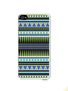 Aztec Hipster Turquoise Tribal Pattern Apple Iphone 4 Quality TPU Soft Rubber Case for Iphone 4/4s - AT&T Sprint Verizon - White Case