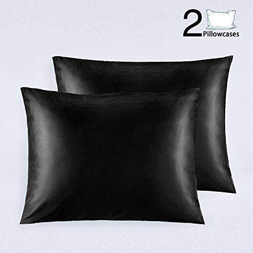NTBAY Silky Satin Pillowcases for Hair Set of 2, Super Soft and Luxury, Hidden Zipper Design, 20x 26 (Black)