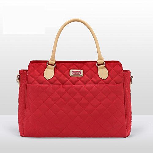 Moda oblicua a través del hombro Bolso de la momia, bolso de múltiples funciones de la madre de gran capacidad, bolso del bebé de la madre, bolso de la momia ( Color : Rojo ) Rojo