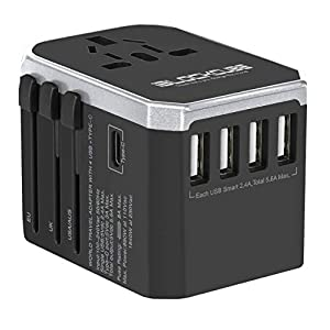 iBlockCube® Universal Travel AC Power Plug Adapter with International Socket & 4 USB 5.6A + 1 Type-C 3.0A Smart Ports Work for US EU AU UK up to 150+ Countries Worldwide Type A G I (Silver-Black)