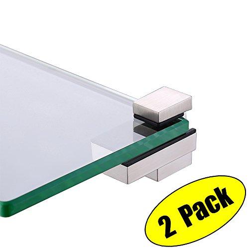 KES Glass Shelf Bracket, Glass Clamp for 4-15mm Wood or Glass Shelves Solid Metal Adjustable Wall Mount 2 Pack, Brushed Nickel, HSB303A-2-P2 4 Solid Shelves