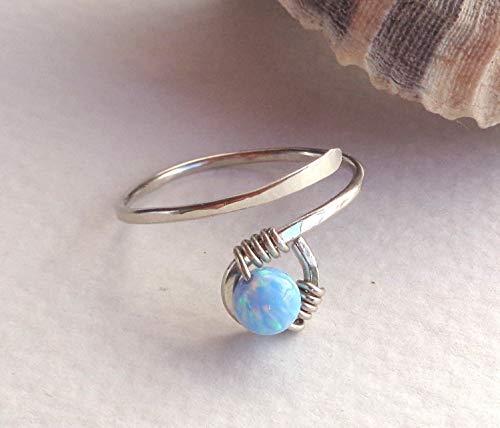 Toe-Midi-Knuckle Spiral Swirl Ring Adjustable Size Gemstone,Pearl,Swarovski, Fire Opal Wrapped Hammered