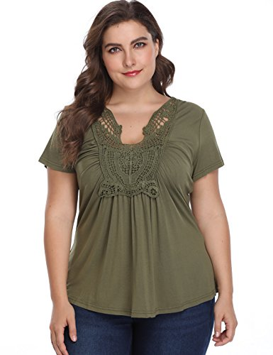MISS MOLY Peplum Tops for Women Deep V-Neck Ruched Front Short Sleeve Ruffle Casual Blouse Shirt (2XL / US-20W, Olive Green(Plus Size))