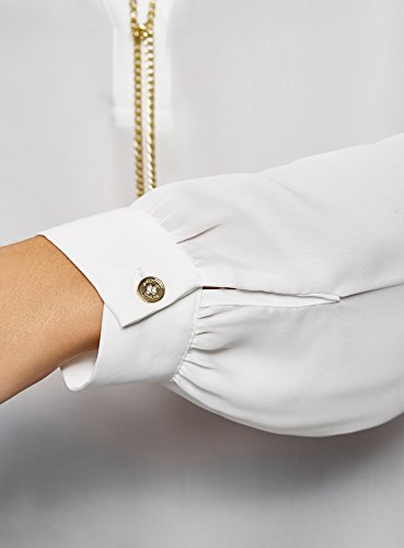 Mtal Femme Fluide Blanc 1200n en avec oodji Ornements en Tissu Collection Chemisier XR75qwz