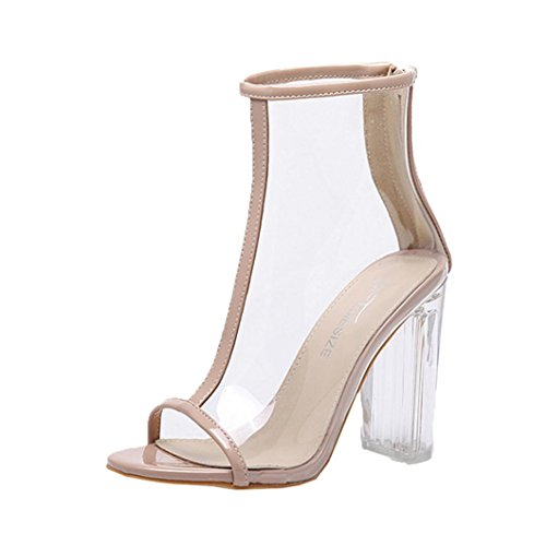 Lolittas Ladies Women High Heel Sandals,Summer Block Chunky Transparent Wide Fit Open Toe T-Strappy Slingback Cushioned Womans Outdoor Court Shoes Size 2-6 Khaki