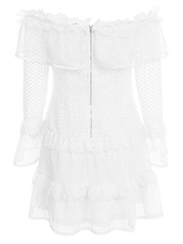Di Abito Simplee Chiarore Spalla Mini Dalla Camicia Pizzo Manica Donna Abbigliamento Lunga Bianco Di tEaRwqwc7