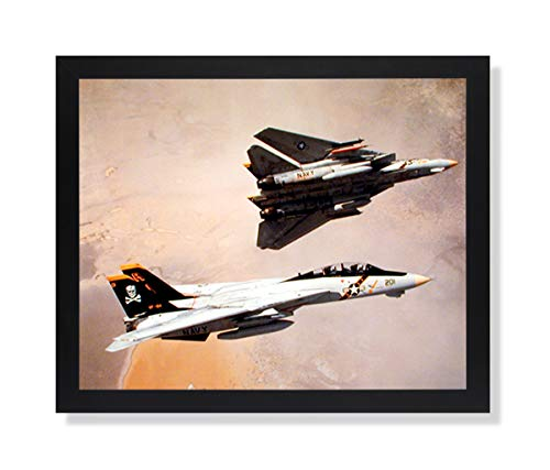 Pair of F-14 Tomcat Military Aircraft Jet Airplane Picture Black Framed Art Print