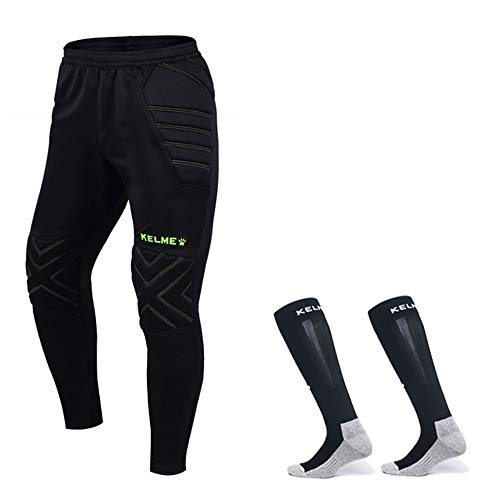 Goalkeeper Pants Pro Bundle with Protection Pads - Set Includes Pants and Socks - Kids and Adult Sizes (Black/Yellow, Kids 10)