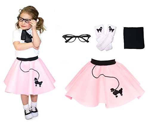 Hip Hop 50s Shop Toddler 4 Piece Poodle Skirt Costume Set Light Pink (50s Pink Poodle Girls Costume)