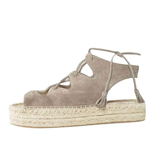 (New in Respctful✿Women's Platform Sandals Espadrille Wedge Ankle Strap Studded Open Toe Sandals Gray)